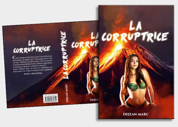 Pour ce roman érotique, l'auteur souhaitait avoir une femme légèrement dénudée devant un volcan, afin d'imager le côté sulfureux  du contenu. Nous avons utilisé des méthodes de montage photographique et colorimétrique pour rendre une composition homogène. #photomontage  # couverture