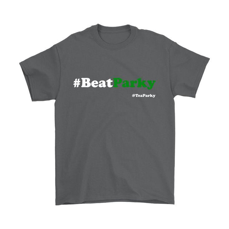#BeatParky Mens Short Sleeve T-Shirt (White/Green Font)
