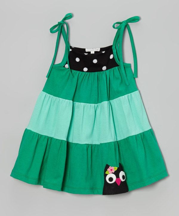 Take a look at this Green & Black Owl Shoulder-Tie Dress - Infant, Toddler & Girls on zulily today!