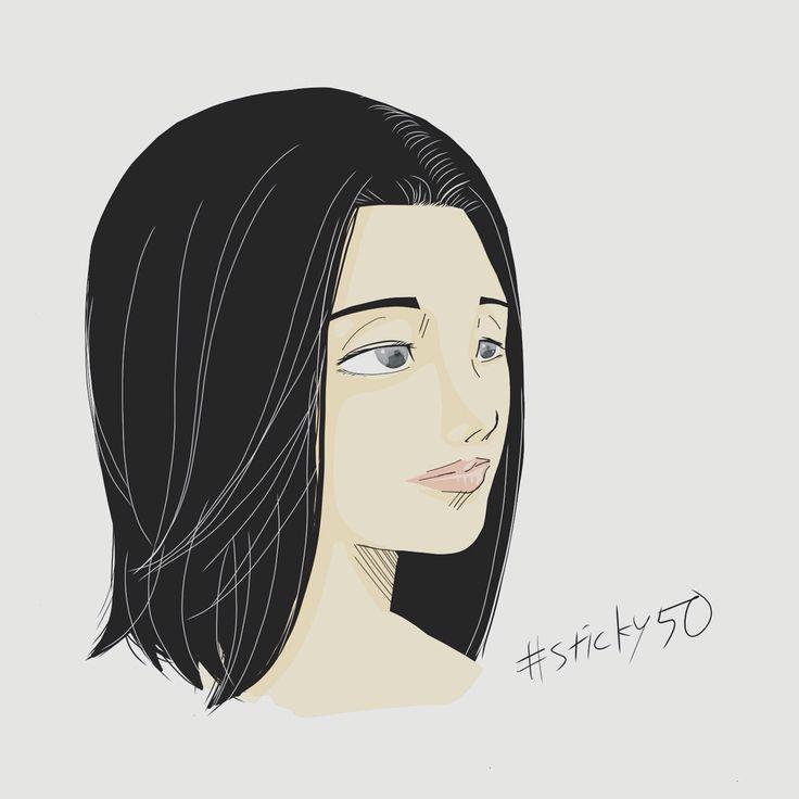#sticky50 試作その41「ナチュラルウーマン」目を大きく女性っぽく自然に描くのは難しい