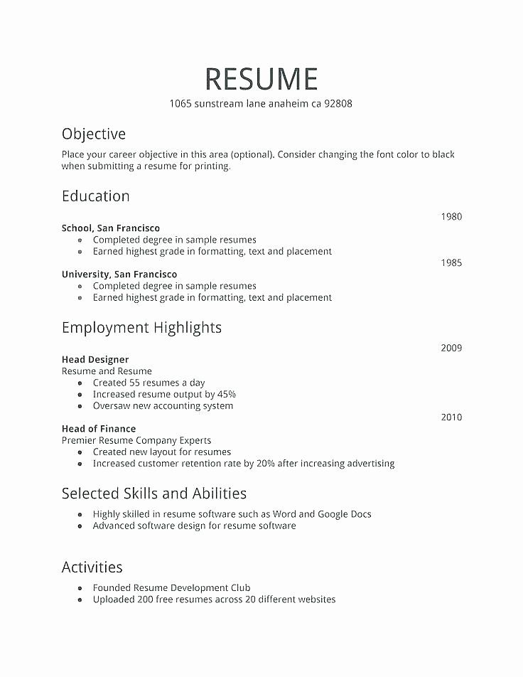 First Job Resume Template Inspirational First Job Resume Template First Job Resume Job Resume Format Simple Resume Examples