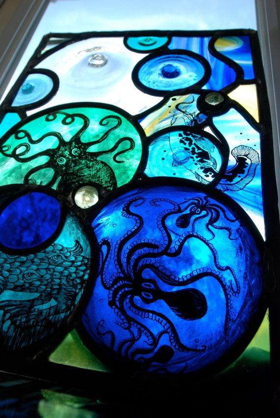 Octopus' Garden stained glass panel by James Cockerill of Halt Glass, Old Woking, England