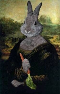 """The Mon-Hare Lisa - tho' not really a Hare, was painted by the famous artist Le.Hare.nardo da Vinci from 1503 to possibly 1517 (sometimes the artist would paint as many as three canvases at a time, hopping from one canvas to another) (""""Mona Rabbit"""" by Teddy Royannez - France)"""