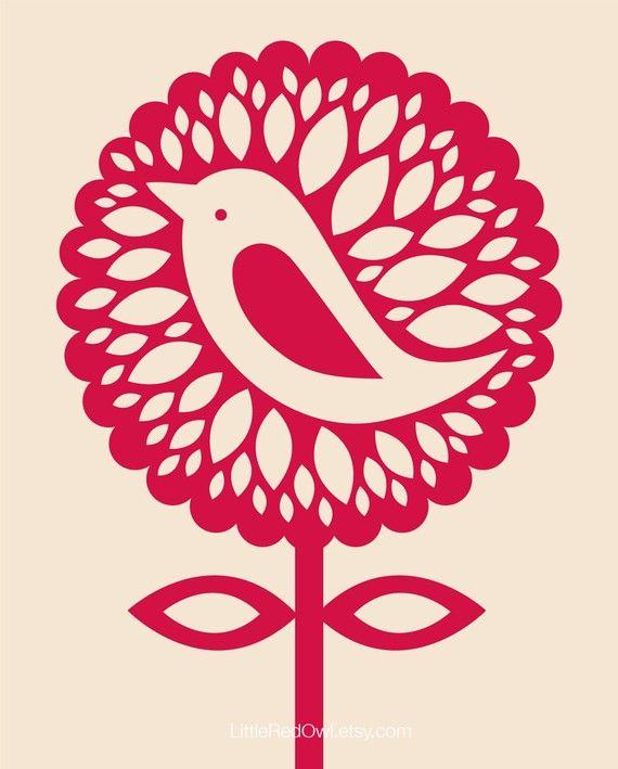 Sunflower Bird  an original Little Red Owl by LittleRedOwl on Etsy