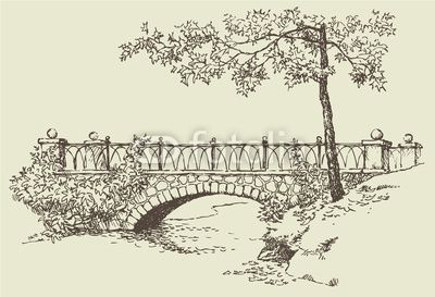Landscape Sketch Of Stone Bridge
