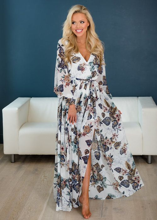 a9ac3c866beb White Floral Wrap Maxi Dress, Online Boutique, Online Shopping, Fashion,  Fashion Blogger, Style, Utah Boutique, Women's Clothing, Modern Vintage  Boutique, ...