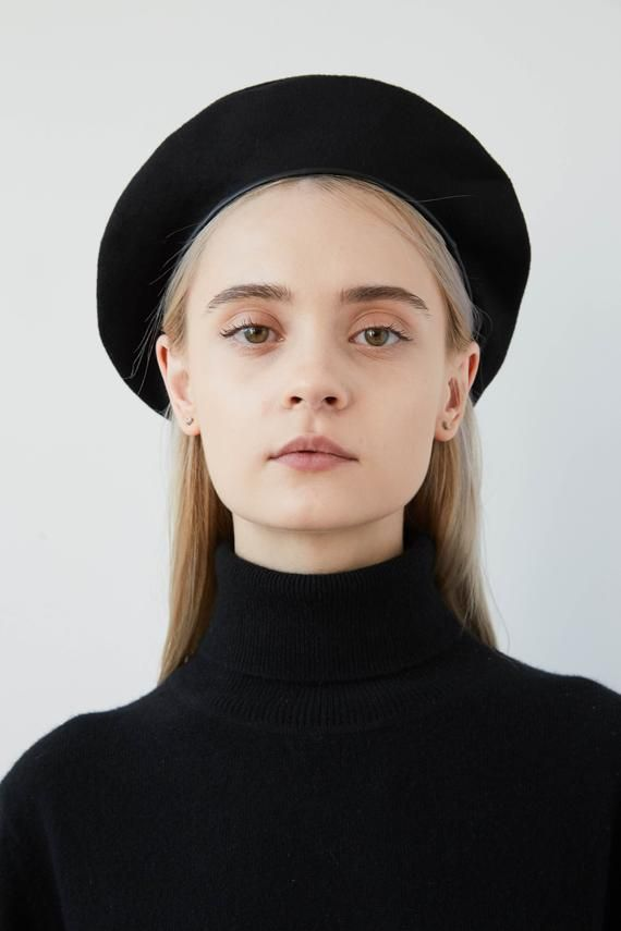 JACKIE Black wool beret with eco leather trim f6684697253