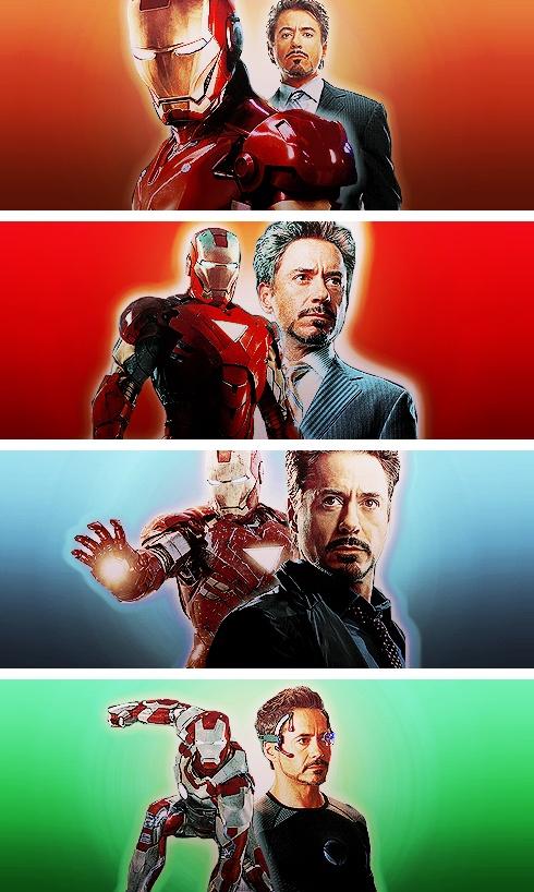 The evolution of Tony Stark and the Iron Man armor (top to bottom: IM, IM2, Avengers, IM3).