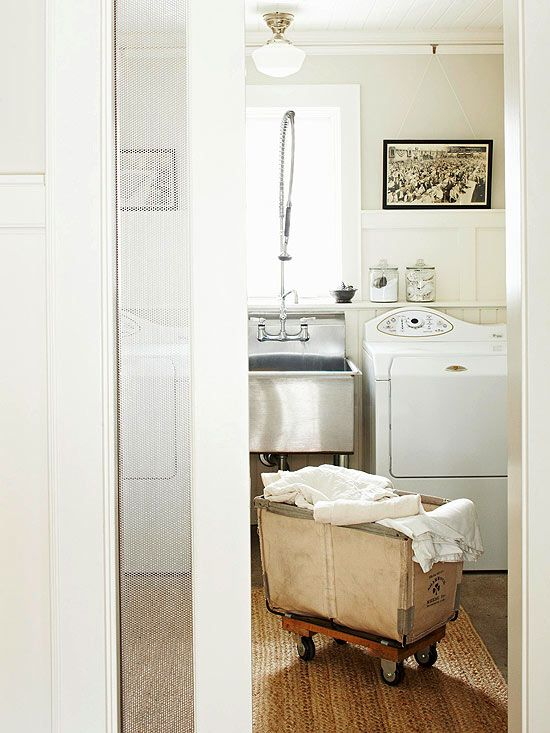 Beside the dryer, install a clothing rod to hang items to air-dry. Immediately hang permanent press items to keep them from wrinkling. You might want to reserve space for an ironing board (stand-alone or pullout) close to the clothing rod to facilitate quick touch-ups.