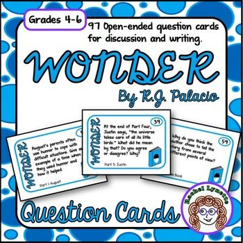 "Wonder question cards - perfect for discussion or writing prompts. Reading wonder is a wonderful way to make your classroom, ""a little kinder than is necessary."""