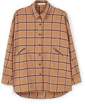 Womens camel check cotton shirt from Mango - £29.99 at ClothingByColour.com