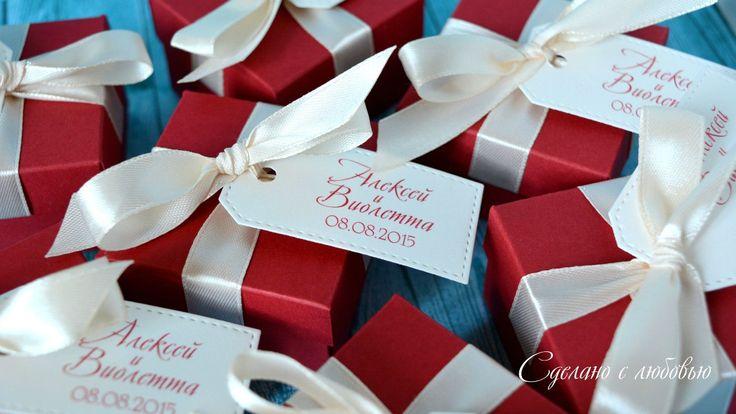Бонбоньерки для свадьбы в цвете марсала