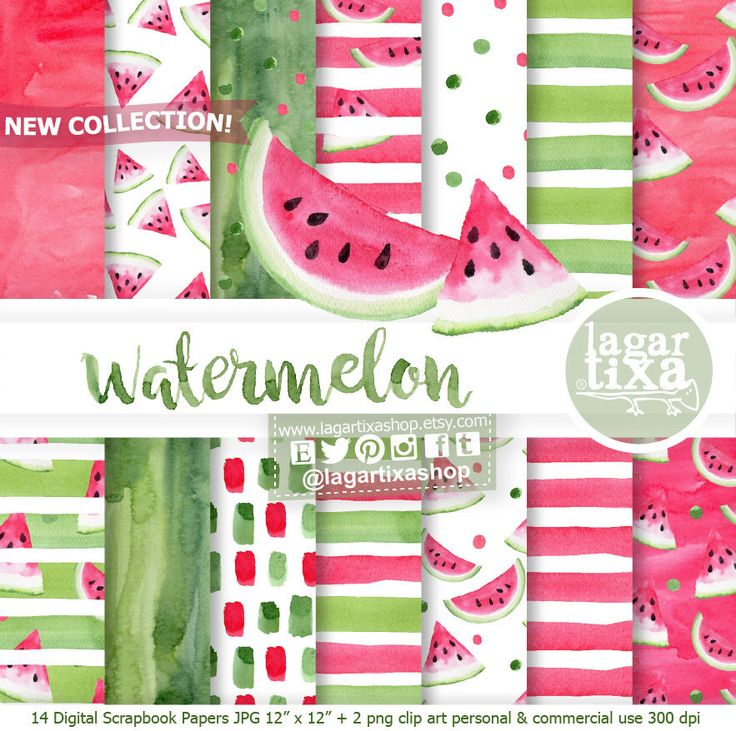 https://www.etsy.com/mx/listing/524151398/papel-digital-fondos-sandia-rosa-fiuscha #watermelon #fruits #summer #poolparty #watercolor #patterns #green #red #stripes #handmade