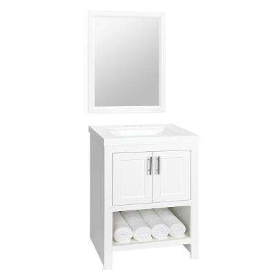 Spa 24.5 in. W Bath Vanity in White with Cultured Marble Vanity Top in White with White Basin and Mirror