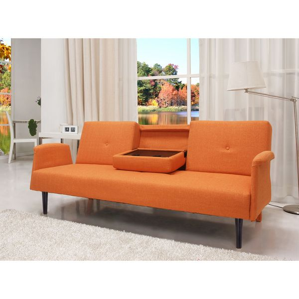 Cambridge orange convertible sofa bed for Sofa bed overstock