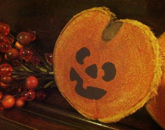 Handpainted Funny Pumpkin Face Wood Slice by VickiAnnCreations, $7.00