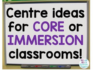 Centre ideas for FSL classrooms! Can be used in French Immersion or Core French…