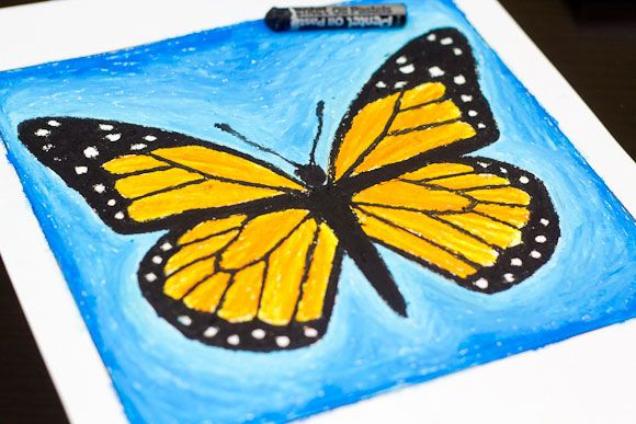 Fun and free how to use oil pastels for kids! This oil pastel art project is of a Monarch Butterfly. Download the free print and follow along!