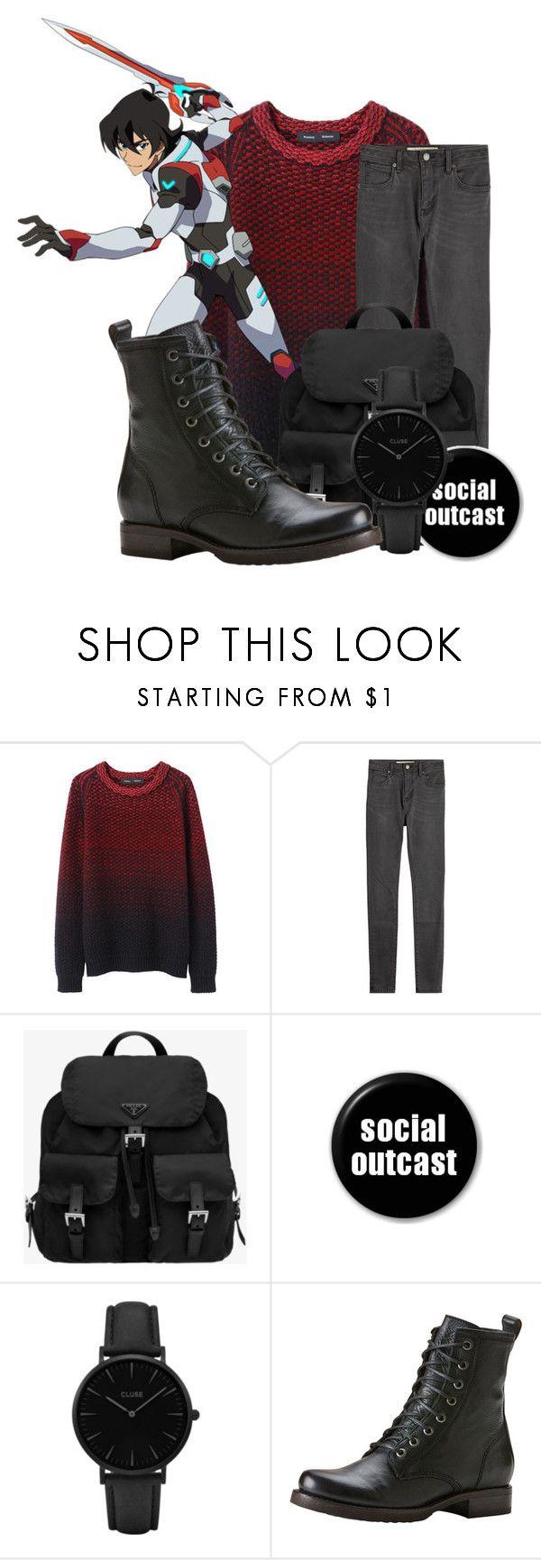 """Keith Kogane"" by cheytheunicorngirl ❤ liked on Polyvore featuring Proenza Schouler, Burberry, Prada, CLUSE, Frye, men's fashion, menswear and voltron"
