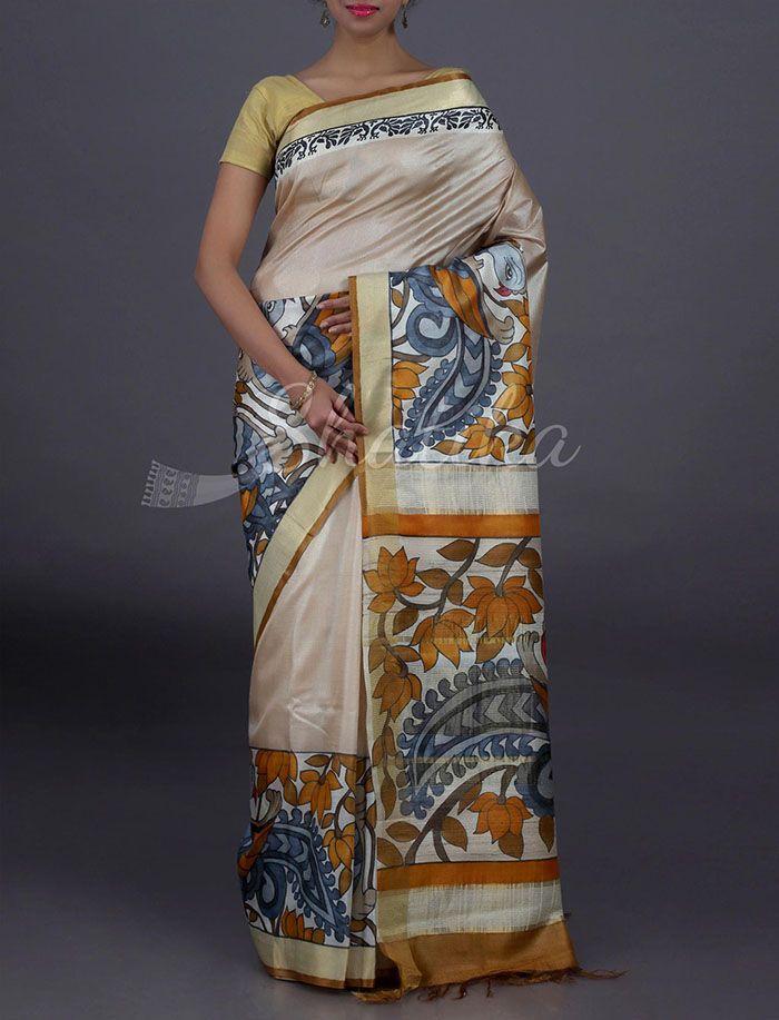 Payal Plain With Full Bloom Pallu Border Pure #KosaSilkSaree