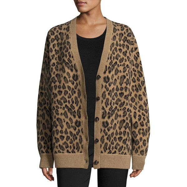 Alexander Wang Oversized Leopard-Print V-Neck Cardigan (2.245 BRL) ❤ liked on Polyvore featuring tops, cardigans, leopard, brown top, leopard print cardigan, v-neck tops, leopard print top and leopard cardigan