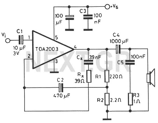 12v amplifier circuit with tda2003 electronics projects circuits