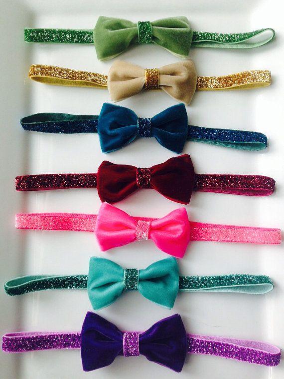 Velvet bow glitter headband , glitter elastic headband ,velvet bow headband on Etsy, $6.99