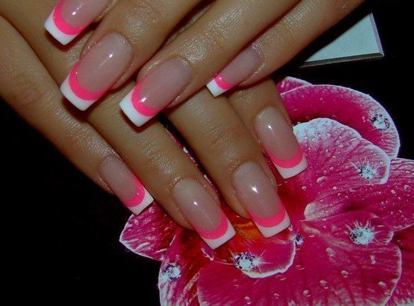 french nails with pink & white