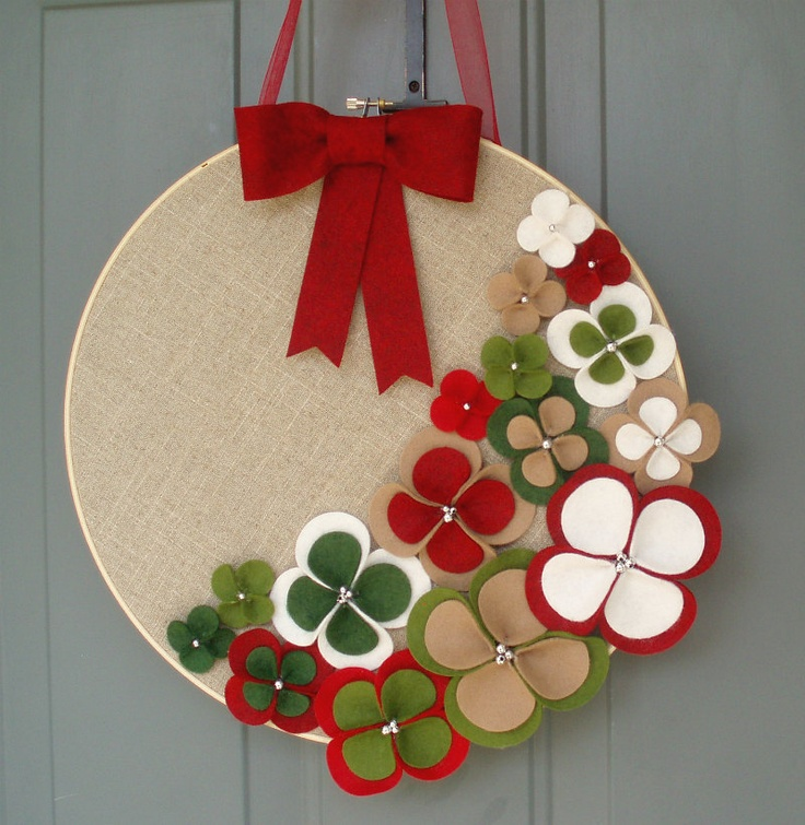 Linen Hoop Felt Handmade Door Decoration - 'Tis The Season 14in. $40.00, via Etsy.