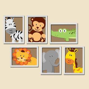 ★BOY Animal Wall Art Boy Animal Nursery Jungle Safari Baby Boy Nursery Wall Art Boy Bedroom Wall Art Boy Nursery Decor Boy Art Print Set of 6