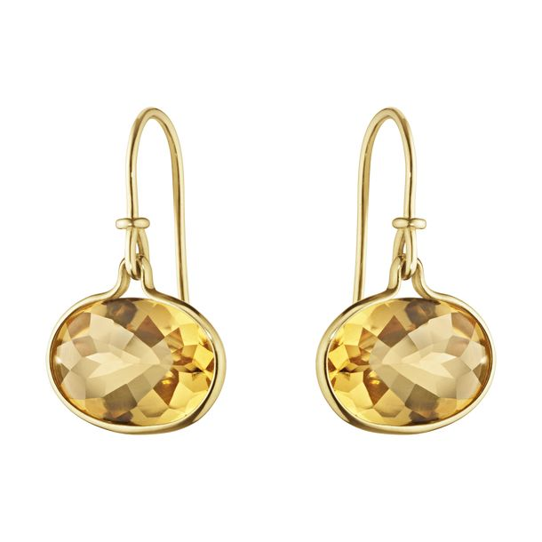 A pair of 18 carat yellow gold and citrine earrings from the Savannah Collection at Georg Jensen. The citrines of 10 x 13.5 mm are rim set in 18 ct gold.