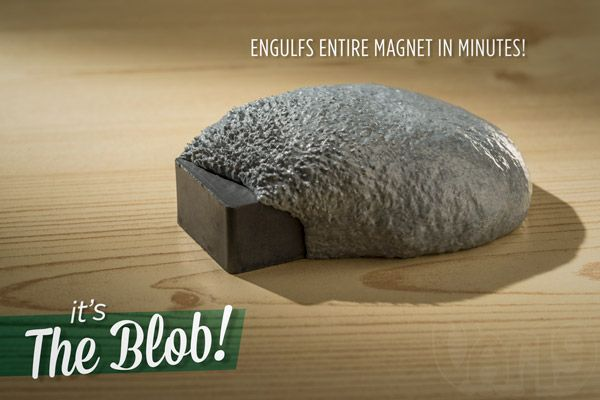 Super Magnetic Thinking Putty envelopes a magnet in a matter of minutes.
