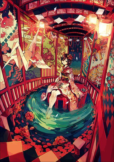 Manga Mädchen in Kimono in Pavillion mit Teich (Super Cool Crafts)