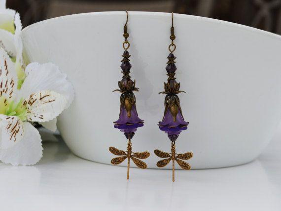 CLEARANCE SALE Purple Dragonfly by EllaHandmadeUnuque on Etsy