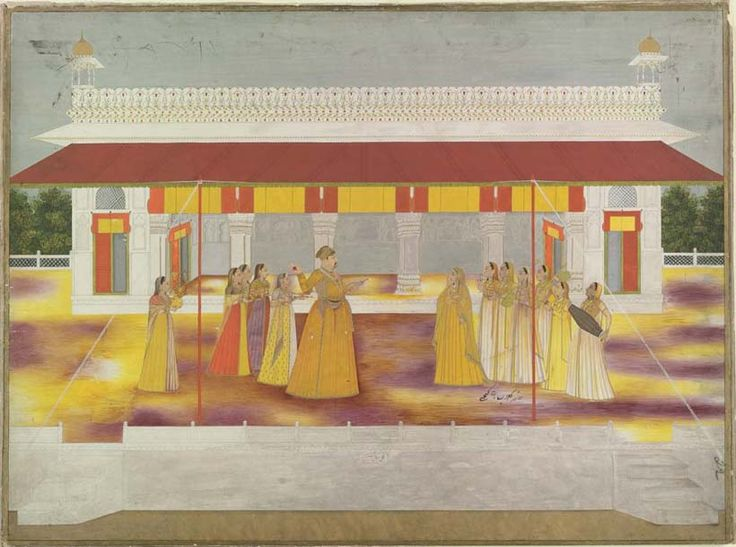 Muhammad Shah celebrating Holi, ca. 1737