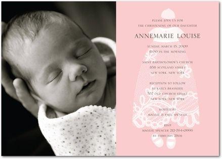 ADORABLE BABY GIRL CHRISTENING OR BAPTISM INVITATION.