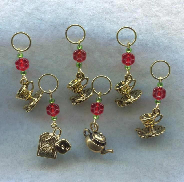 Tea Party Knitting Stitch Markers Cuppa Tea Pot Coffee Cup Theme Set of 6/SM28 from GloriaPatreSpinNKnit on Etsy Studio