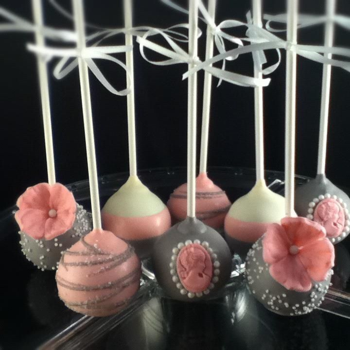 Gray & Pink Flowers and Cameos Cake Pops