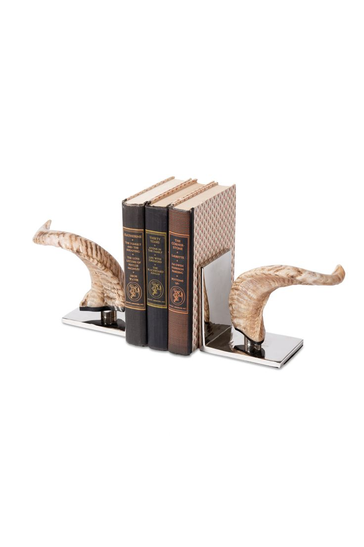 best sargis sc images on pinterest  kitchen lighting dining  - the bold horn bookends corral decorative reads with animal allure risingfrom its metallic nickel plate a natural horn sculpture displays exoticpanache