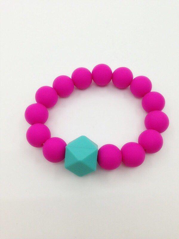 BPA Free Silicone Teething Bracelet - Teething Chew Beads Non Toxic Chew Bracelet by BeadsandBabies on Etsy https://www.etsy.com/listing/243045414/bpa-free-silicone-teething-bracelet