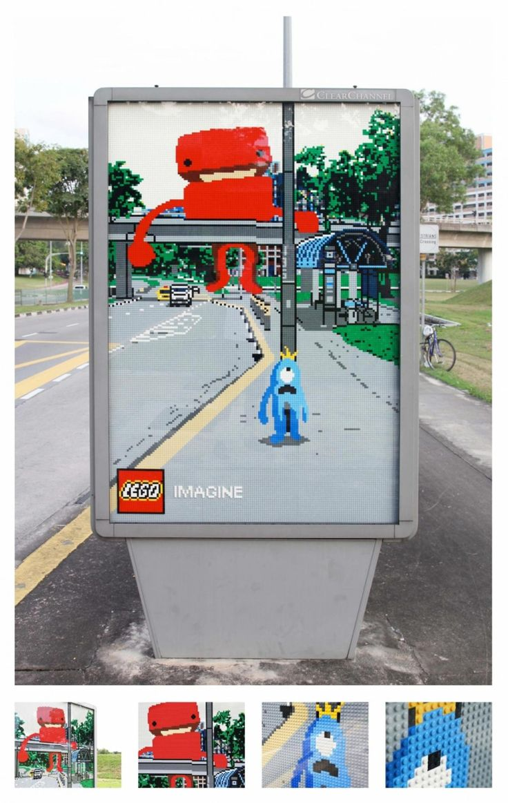 Lego monster popping up through a billboard. Awesome!