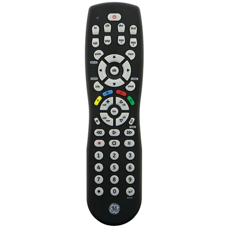 GE 24927 8-Device IR Universal Remote. Controls up to 8 devices including TV, Blu-ray(TM), DVD, VCR, DVR, cable, satellite, digital converter boxes, streaming boxes & other devices;  Works with all major brands;  Comprehensive code library;  Advanced DVR functionality;  Master volume feature;  Can be used with combo devices;  Dot button to access sub-channels;  Favorite button stores up to 10 favorite channels for quick access;  Full menu functions;  Colored ABCD buttons for menu...
