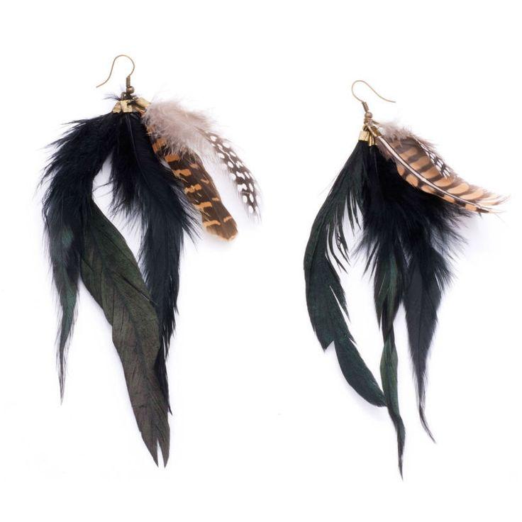 preciosos y pendientes boho style de plumas muy originales de ltima moda solo