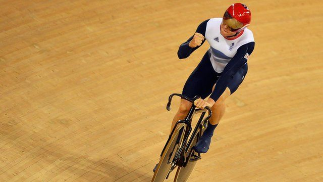 Chris Hoy celebrates as GB win gold in team sprint - Britain's men's team sprint trio smashed their own world record.   Philip Hindes, Jason Kenny and Sir Chris Hoy clocked 42.600 seconds - -         The victory gave Hoy the fifth Olympic gold of his remarkable career.  His golds and one silver put him level with Sir Steve Redgrave in the all-time British Olympic gold medal rankings.