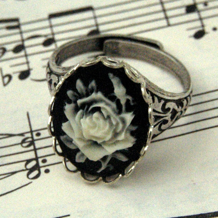 Black Rose Cameo Ring - Silver. $17.50, via Etsy.