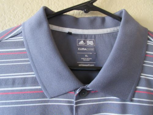 Adidas-Clima-Cool-Men-039-s-XL-Gray-Red-White-Striped-Polo-Shirt-Falconhead