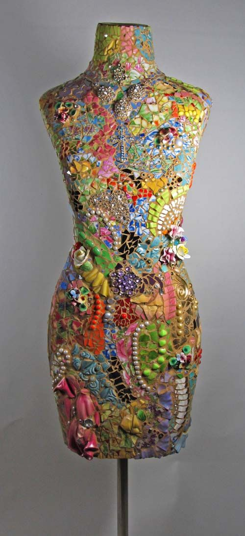 Rainbow Lady dress form, with antique china shards, tons of vintage jewels and beads, and other found things.