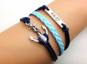 Vintage Style Silver S Anchor & Love Bracelet Navy Blue Rope and Light Blue Leather Personalized Friendship Gift 2223r Retro Bracelet. $14.59