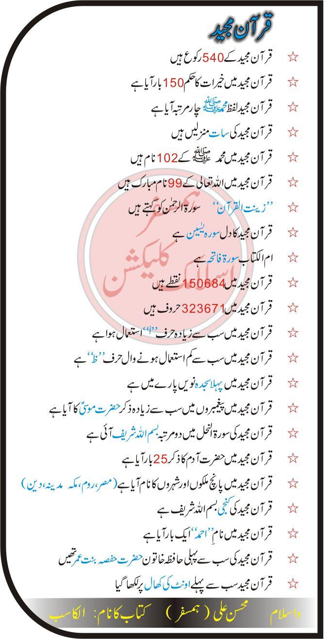 qurani maloomat in urdu