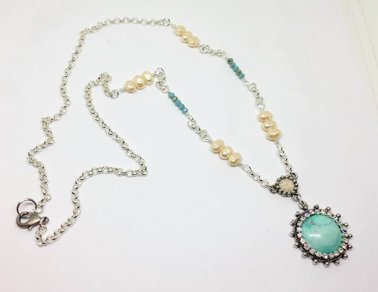FUF B'Sue 1928 Old silver and Howlite stone and pearls.